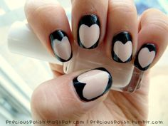Reminds me of those adorable J.Crew sweaters #nails #nude #black #hearts