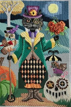 Needlepoint Stitch Guide pdf - Steampunk Cat - Brenda Stofft Design - Hints for Women Bargello Needlepoint, Needlepoint Stitches, Needlepoint Canvases, Needlework, Funny Needlepoint, Needlepoint Pillows, Needlepoint Kits, Machine Embroidery Projects, Embroidery Art