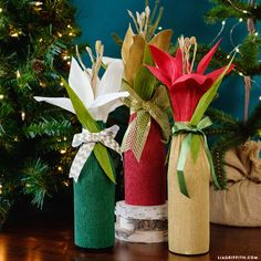 Watch our free video to learn how to craft a stunning bottle gift wrap out of crepe paper for holiday gift giving! The wrap includes a gorgeous paper flower