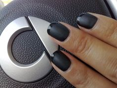 Matte is Murder with glossy tips engaging in road rage while behind the wheel of a Smart Fortwo. Matte Black Nail Polish, Matte Nails, Makeup Art, Lip Makeup, Makeup Tips, Pretty Pedicures, Rock Nails, Smart Fortwo, Road Rage