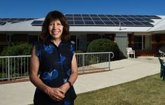 ENERGY LEADER: Rooftop solar panels are some of the energy-saving ways of the future for Yackandandah Health chief executive Annette Nuck and the town. Picture: MARK JESSER
