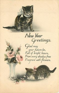 CHRISTMAS GREETINGS or NEW YEAR GREETINGS  two kittens & vase of roses New Year Greeting Cards, New Year Greetings, New Year Card, Christmas Greetings, Holiday Cards, Cat Birthday, Happy Birthday Cards, Birthday Greetings, Vintage Happy New Year
