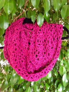 Undeniable Glitter: Lacy Fuschia Infinity Scarf. Just lovely and you can wear this year round <3