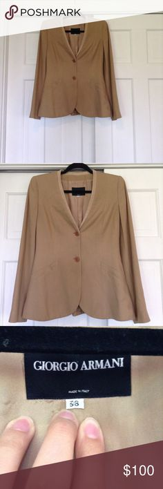 Giorgio Armani stunning vintage blazer sz 38 This jacket is just beautiful. The fabric is that of luxury and the style is gorgeous! 2 button closure... Ever so slight shoulder padding.  Suede trim around neckline. Giorgio Armani Jackets & Coats Blazers