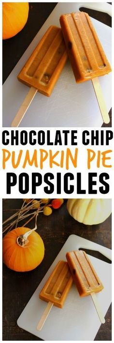 Chocolate chip pumpkin pie popsicles! An icy, delicious spin on the classic pumpkin pie. YUM!