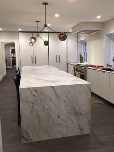 New Kitchen Cabinets, Kitchen Flooring, Kitchen Island, Green Cabinets, White Quartzite Countertops, Floor To Ceiling Cabinets, Ikea, Beach House Kitchens, Stone Kitchen