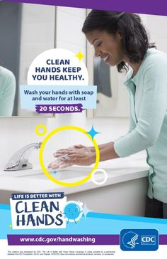 Handwashing at key times during the day can keep germs off your hands and can keep you from getting sick, as highlighted in the CDC campaign Life is Better with Clean Hands. Global Handwashing Day, Hand Washing Poster, Why Read, Healthy Water, Health Promotion, Hand Sanitizer, Keep It Cleaner, How To Stay Healthy, Life Is Good