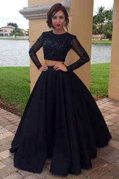 Chic Black Prom Dress - Jewel Long Sleeves Floor Length with BeadingRound Evening Dresses, Black Two Piece Prom Dresses, Long Sleeves Two Pieces Plus Size Prom Dresses For Teens,Modest Formal Evening DressesZappos Women S Fashion SneakersShop Dresses Prom Dresses For Teens, Prom Dresses Long With Sleeves, Plus Size Prom Dresses, Party Wear Dresses, Trendy Dresses, Black Gown With Sleeves, Party Gowns, Half Sleeves, Indian Gowns Dresses