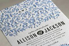 Paper Flowers Letterpress Wedding Invitations