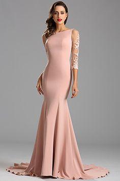 Elegant Half Sleeves Fitted Mermaid Formal Dress (26162346) 39624a2f5