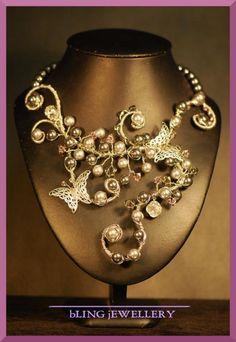 Grey Swarovski Pearl Butterfly Wire Wrapped Necklace