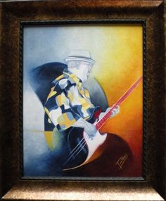 FREE SHIPPING Framed Contemporary Musician Art, Original Oil Painting on Canvas, Musical Theme Art, Gift for Musician, Jazz Painting, 11x14