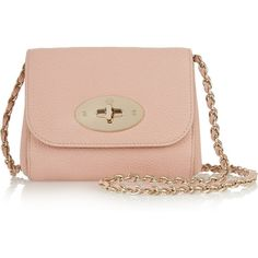 Mulberry Lily mini textured-leather shoulder bag (€500) ❤ liked on Polyvore featuring bags, handbags, shoulder bags, bolsas, purses, mulberry, pink, mini handbags, mini shoulder bag and chain strap purse