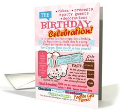 Birthday Infographics, Birthday Humor, Funny Birthday card (1063199) by Cherie's Art Card Store