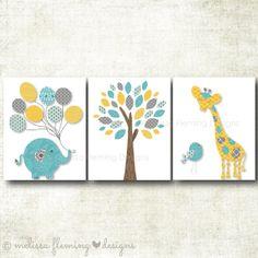 Nursery Art print, Elephant, Giraffe, Bird, Tree, Gender Neutral Print, Yellow, Grey, Turquoise Art Print Set (GN6)