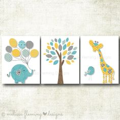 Nursery Art print, Elephant, Giraffe, Bird, Tree, Gender Neutral Print, Yellow, Grey, Turquoise Art Print Set by MelissaFlemingDesigns