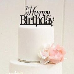 Happy Birthday Cake Topper Decoration for Party Cake or Flower Bouquet