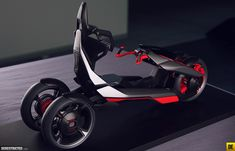 audi nexus - Melding the designs of both a motorcycle and a car, the Audi Nexus brings urban mobility to the next level. The concept design by Audi Design Conc. Monocycle, Velo Design, Tricycle Bike, Futuristic Motorcycle, Futuristic Cars, Reverse Trike, Power Cars, Car Wheels, Transportation Design