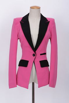 Lapel Single Button Color Block Long Sleeve Blazers For Women (ROSE,XL) | Sammydress.com