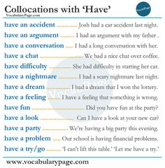 Collocations with Have #English www.vocabularypage.com