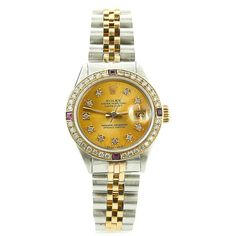 "ROLEX 1972 DATE 6916 GOLD DIAL CUSTOM DIAMOND+RUBIES 2-TONE JUBILEE LADIES W/BOX Item condition:Pre-owned ""Great Condition. Functioning Flawlessly."" Price:US $2,685.00"