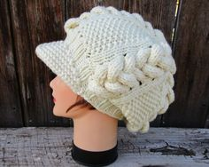 Newsboy Cap Pattern - Instant Download PDF - Knitting Pattern For Slouchy Cable Knit Newsboy Hat - Beanie Instructions - Visor Hat Tutorial by BettyMarieJones on Etsy
