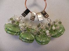Tablecloth Weights in fun shades of green set of four $18 Tablecloth Weights, Shades Of Green, Home Accessories, Beads, Earrings, Party, How To Make, Fun, Gifts