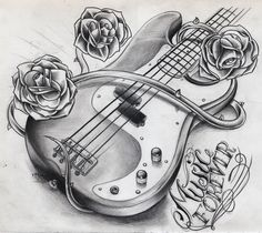 tatoo ideas for electric and acoustic guitar player who love skulls - - Yahoo Image Search Results Guitar Tattoo Design, Music Tattoo Designs, Music Tattoos, New Tattoos, Love Tattoos, Tatoos, Guitar Sketch, Guitar Drawing, Music Drawings