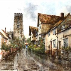 Painting by Reg Siger - specialising in depicting old cottages, farmhouses, village and town scenes. Old Cottage, Cottages, Fill, Farmhouse, Paintings, Artist, Artwork, Lodges, Work Of Art