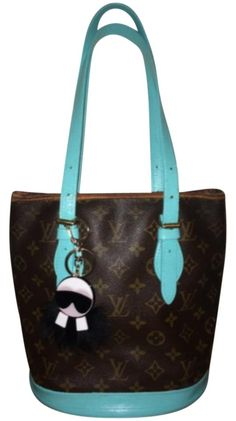 e221860a2abc Bucket Pm Handprinted Turquoise Sd0092 with Charm Brown Monogram Canvas and  Leather Shoulder Bag