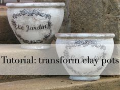 garden pots transformed with Kilz dry brushed and decoupaged graphics from The Graphics Fairy A Delightsome Life