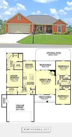 Craftsman Style House Plan - 3 Beds 2 Baths 1596 Sq/Ft Plan #430-96. Really efficient plan, just needs an office - created via pinthemall.net