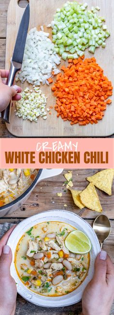 This creamy white chicken chili recipe is one of the best winter recipes ever. It's super delicious and easy, takes just 35 minutes to make, and you can cook it in an Instant Pot, Crockpot or on the stovetop, as I will explain down in the article.