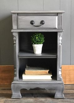 """Love the details and the shelf/cubbies on this nightstand. It's painted in General Finishes Driftwood Milk Paint with Pitch Black Glaze to highlight the details and add some depth. Painted Furniture, Furniture Design, Refinished Furniture, Cubbies, Shelves, Painted Night Stands, Gray Chalk Paint, General Finishes, Shelving"