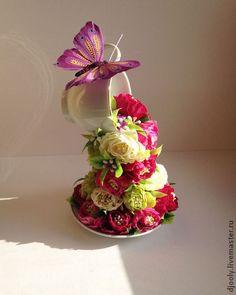 """Композиция чашка с цветами """"Ваша радость"""" - чашка,чашка с блюдцем,чашка кофе"""