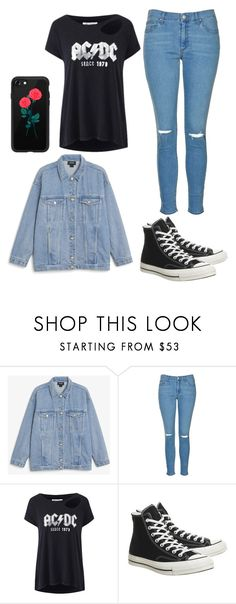 """acdc"" by emilyistheone on Polyvore featuring Monki, Topshop, AC/DC, Converse and Casetify"