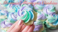 Mermaid Meringue Cookies with White Chocolate Ganache Filling! Chocolate Ganache Filling, White Chocolate Chips, Rose Meringue Cookies, Meringue Kisses, Macarons, Mermaid Cookies, Parchment Paper Baking, Dessert Boxes, Ganache Recipe