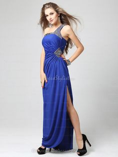 Royalblue Beading Prom Dresses