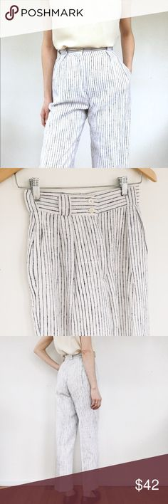 """High waisted linen trouser Incredible vintage find. Lined linen trousers with high waist, pockets, creased leg, and belt loops. These are such a cool/classic addition to the spring/summer wardrobe. Marked as size 4 but best to check measurements. Pictured on a size 26, 5'8 frame. Laying flat, Waist 12"""", rise 13"""", inseam 28"""", hip 18"""".  *shoes and tank also available Pants Trousers"""