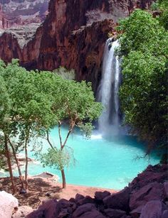 HAVASU FALLS, AZ  ... only way to get there is hike down or ride a donkey. Worth the hike.