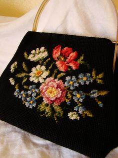 Vintage Black Floral Needlepoint Handbag Purse by Arizonabloom, $10.00
