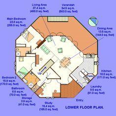 2 Story Octagon House Plans | Octagonal Yurt Building Plans Kit.