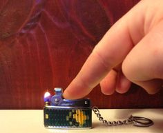SPRING SALE Sarome Pet Pixel Keychain Lighter  Pixel Face by TheLeafery, $27.00