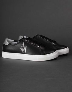 Armani Jeans Black AJ Crystal Sneakers | Accent Clothing Men Online, Armani Jeans, Jean Outfits, Summer Collection, Black Jeans, Converse, Footwear, Crystal, Sneakers