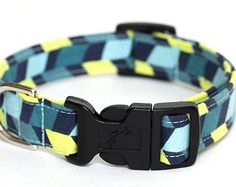 Chevron Dog Collar - 3/4 inch width - Lightweight Style - Adjustable - Fabric: Blue Chevron Offset