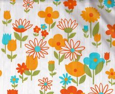 Pretty 1970s Yellow Flower Fabric by Pommedejour on Etsy, These are my favorite fabric prints!