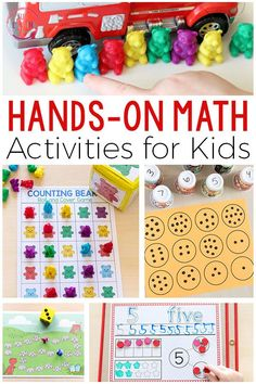 These hands-on math activities are fun and engaging. There are printables and games that are perfect for math centers of small group instruction. Teach math concepts and number sense with these activities.