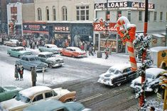 Christmas Eve, Down Town Marion, Indiana, Vintage Christmas Photos, 1950s Christmas, Vintage Holiday, Christmas Pictures, Christmas Shopping, Vintage Photos, Xmas Pics, Christmas Specials, Winter Pictures