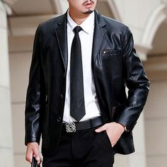 New Fashion Business Style Jaket Kulit Motor High Quality Slim Fit Blazer De Couro