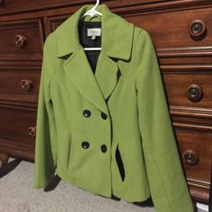 Lime green pea coat!!! Super cute pea coat in a fun lime green color! The perfect coat to change things up a bit! Merona Jackets & Coats Pea Coats
